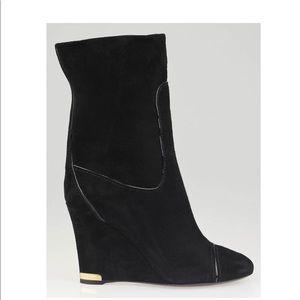 💄 Louis Vuitton black suede wedges SZ36.5